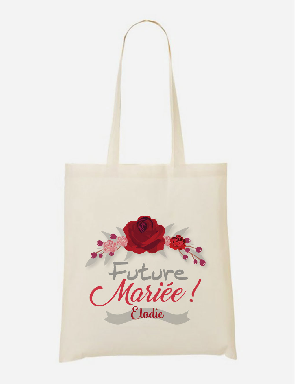 Tote Bag Future Mariée Theme Rose rouge